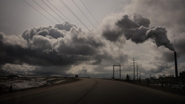 Highway 63 curves past the Syncrude oil sands site, north of Fort McMurray.