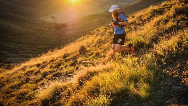 Robbins navigates the sloping South African terrain while competing in Skyrun.