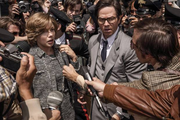 Michelle Williams and Mark Wahlberg star in All the Money in the World. The film famously replaced star Kevin Spacey with Christopher Plummer at the last minute, reshooting all of Spacey's scenes.
