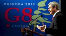Prime Minister Stephen Harper holds a closing press conference at the G8 Summit in Huntsville. (Sean Kilpatrick/Sean Kilpatrick/The Canadian Press)