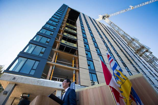 UBC President Santa J. Ono speaks outside a student residence building under construction on Sept. 15, 2016. His predecessor, Arvind Gupta, allegedly faced conflicts with the university administration before leaving the job in 2015.
