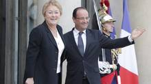 Quebec Premier Pauline Marois and French President François Hollande are meeting in France. Ms. Marois and Mr. Hollande don't agree on issues such as pharmaceutical patents. Quebec Premier Pauline Marois, left, accompanied by French President François Hollande. after their meeting at the Elysee Palace in Paris, Monday, Oct. 15, 2012. (AP Photo/Francois Mori) (Francois Mori/AP)
