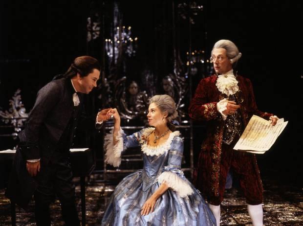 Brian Bedford as Salieri, Megan Follows as Constanze Weber and Stephen Ouimette as Mozart in Amadeus (1995).