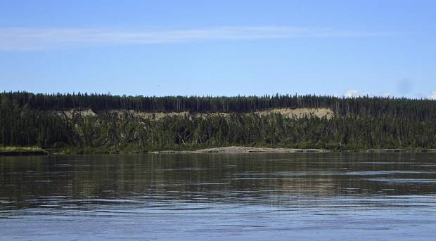 A landslide into the Mackenzie River.