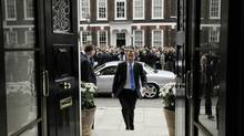 Britain's Conservatives party leader David Cameron arrives to read a statement to members of the media at St Stephen's Club on May 7, 2010 in London, England. (Lefteriss Pitarakis/Getty Images)