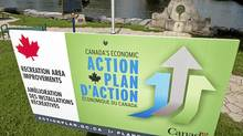 An advertisement for a stimulus project in Mississippi Mills, Ont. (Adrian Wyld/The Canadian Press)