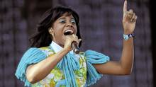 Santigold performs during the first weekend of the 2012 Coachella Valley Music and Arts Festival, Sunday, April 15, 2012, in Indio, Calif. (Chris Pizzello/AP)