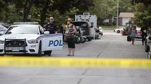 Barrie Police have evacuated approximately 25 homes as a precaution after explosives were found at a residence on Virgilwood Crescent in Barrie, Ont., Thursday, July 12, 2012. (BENJAMIN RICETTO/THE CANADIAN PRESS)