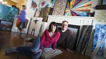Lorraine and Richard Holt, with daughter Ava racing around, turn their home into a gallery for a weekend. (PETER POWER FOR THE GLOBE AND MAIL)