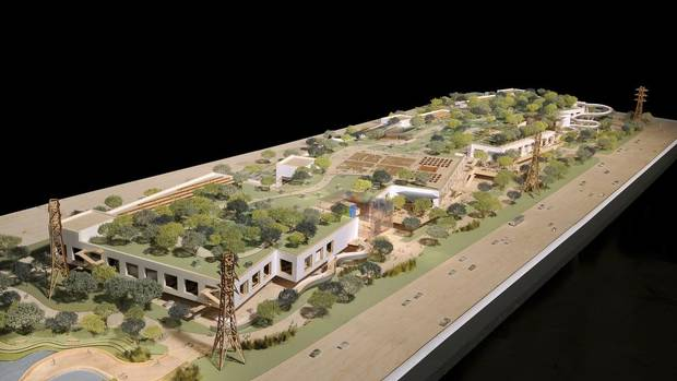 Facebook's West Campus to be built in Menlo Park and designed by Frank Gehry is pictured in this artist's rendering courtesy of Facebook. The rooftop serves as a park. (HANDOUT/REUTERS)