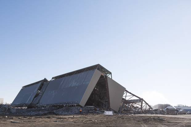 The west-side grandstand at Taylor Field is down as deconstruction of the stadium continues in Regina, Friday, October 27, 2017.