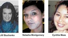 Victims Jill Stuchenko, Natasha Montgomery and Cynthia Maas are shown in B.C. RCMP handout photos. Mounties in Prince George, B.C., say they've connected the deaths of four women to a suspected serial killer. After a 10-month investigation, police have charged Cody Legebokoff with three counts of first-degree murder. (Handout/Handout)
