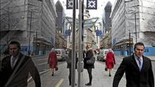 London's financial district: Britain kept its triple-A credit rating, but on Tuesday was put on a 'negative outlook' by ratings agency Moody's. (Lefteris Pitarakis/The Associated Press)