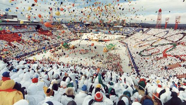 Thousands of balloons are released during the opening ceremonies of the Winter Olympics in Calgary's McMahon Stadium on Feb. 13, 1988.