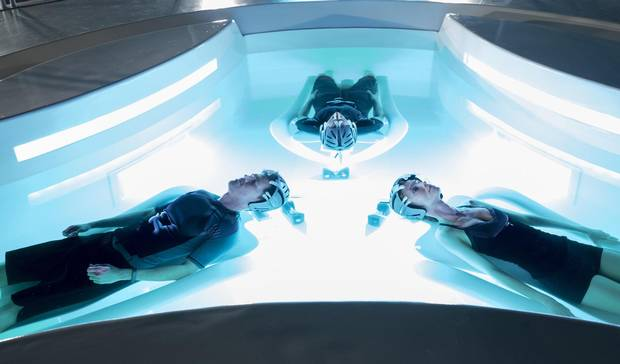 """A film still from 2002's Minority Report, based on Philip K. Dick's short story, in which widespread """"future crime"""" arrests are the norm, based on a prediction system run by mutants floating in a tank."""