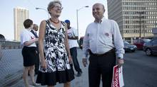 Premier Kathleen Wynne campaigns with Peter Milczyn, a city councillor running for a seat as a Liberal MPP in the August 1st by-election for the Etobicoke-Lakeshore riding, outside of the Islington subway station in Etobicoke on Tuesday, July 16, 2013. (Matthew Sherwood For The Globe and Mail)