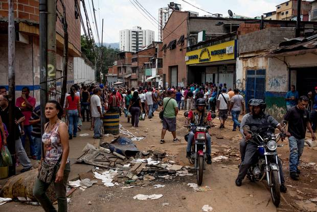 The morning after a night of looting in the El Valle neighborhood of west Caracas.