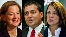 Alberta Progressive Conservative Leader Alison Redford, Liberal Leader Raj Sherman and Wildrose Leader Danielle Smith are shown in a photo combination. (The Canadian Press)