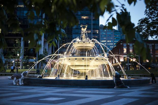 Berczy Park serves tourists as well as locals.