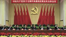 In this photo released by China's Xinhua News Agency on Monday, Oct. 18, 2010, Chinese President Hu Jintao, center, and other top Chinese leaders attend the Fifth Plenary Session of the 17th Central Committee of the Communist Party of China (CPC) held in Beijing for Oct. 15-18, 2010. Chinese Vice President Xi Jinping, second right, was promoted to vice chairman of a key Communist Party military committee on Monday at the meeting in the clearest sign yet he remains on track to take over as the country's future leader within three years. From left are, Zhou Yongkang, Li Keqiang, Li Changchun, Wen Jiabao, Hu Jintao, Wu Bangguo, Jia Qinglin, Xi Jinping, He Guoqiang. (Fan Rujun/Fan Rujun/AP Photo/Xinhua)