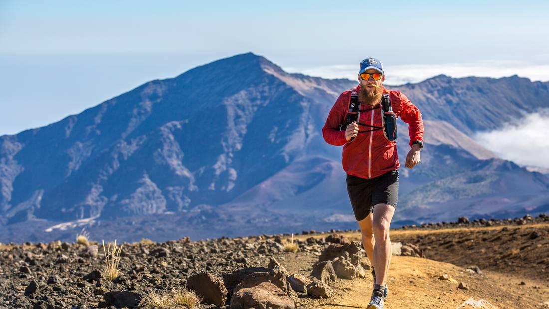 Gary Robbins running at Haleakala.