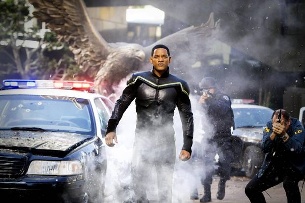 Will Smith starring as Hancock.