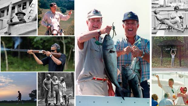 From coastal retreats in Maine to ranches in California, U.S. presidents have chosen a variety of destinations to take time away from their duties. At middle, George H.W. Bush hoists a fish with then Canadian prime minister Brian Mulroney near Kennebunkport, Maine, in 1990.