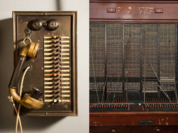 Left: A gold-plated intercom that hung in the Eaton family mansion, Ardwold, in Toronto beginning in 1911. Right: A battery switchboard that was manufactured by the Northern Electric and Manufacturing Company in Montreal.