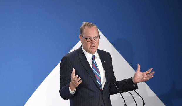 George Cope, CEO of BCE Inc., speaks at the company's annual general meeting in 2017.