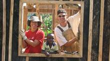 Elaine Balestra and Landon Berger with unidentified Kenyan child. Global Village Photos. Photo by Rick Tait (Rick Tait)