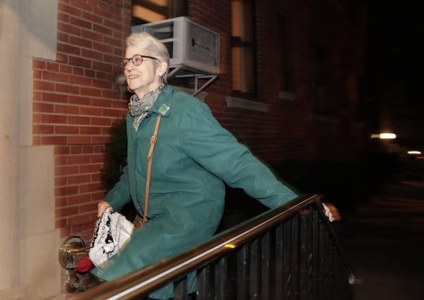 Jessica Leeds arrives at her apartment on Oct. 12, 2016.