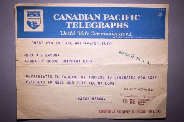 Jack Maclean Mason sent a telegram to Chippawa dated May 17, 1945, telling his parents he had been liberated and wishing 'all my love.'