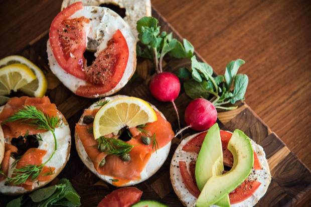 Bagels with assorted toppings.