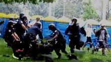 A handout photograph showing the arrest of Adam Nobody during G20 protests in Toronto. (Handout)