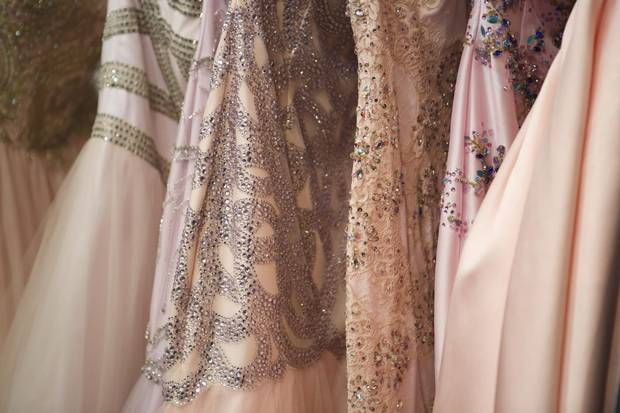 Details of Picchelina dresses at 15Fest reveal their ornateness. Parents often spend thousands of dollars on their daughter's attire for the big event.
