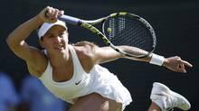Eugenie Bouchard plays a return (Pavel Golovkin/AP)