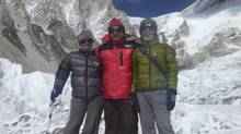 Shriya Shah, expedition manager Rishi Kandel and Ganesh Thakuri, managing director of Utmost Adventure Trekking Pvt. Ltd., on the way to Camp 1. Ms. Shah died while returning from the summit in May 2012. (Unknown/Shah's Facebook page)