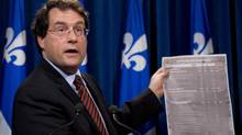 Bernard Drainville decided not to take part in a debate at Montreal's Concordia University on the charter of values because members of protesters refused to commit themselves to keep the peace. (Jacques Boissinot/The Canadian Press)