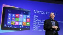 Microsoft CEO Steve Ballmer speaks at the launch event of Windows 8 operating system in New York, October 25, 2012. (LUCAS JACKSON/REUTERS)