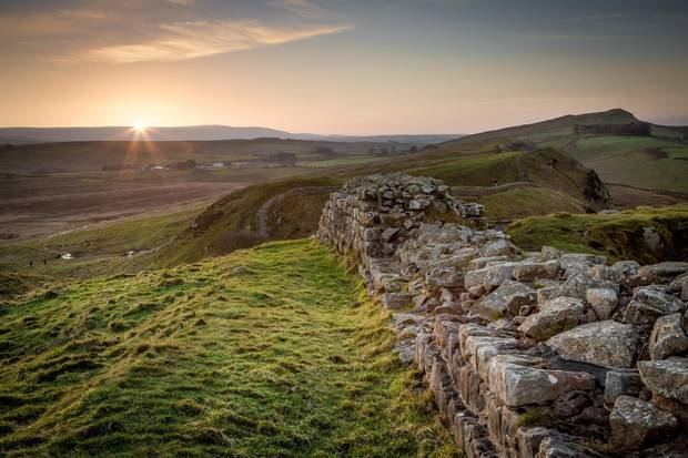 Hadrian's Wall, an ancient landmark in Northumbria, England.