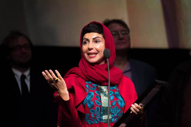 Director Sadaf Foroughi accepts the Prize of the International Film Critics for her movie Ava at the Toronto International Film Awards on Sunday, Sept.17, 2017.
