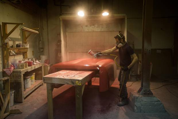 Leonard Bizzotto works on a fabrication project for Paus, a woodworking, design and fabrication company.