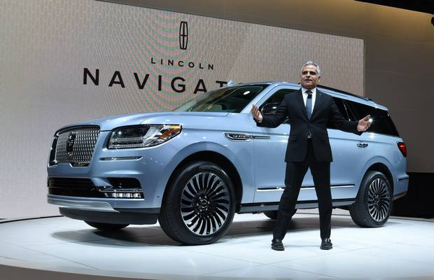 Lincoln president Kumar Galhotra speaks during the first press preview day at the 2017 New York International Auto Show.
