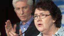 Muguette Paill� who was the centre of attention during the French debate, gives her support to Bloc Qu�b�cois Leader Gilles Duceppe, Saturday, April 30, 2011 in Louiseville, Quebec. (Jacques Boissinot/ The Canadian Press/Jacques Boissinot/ The Canadian Press)
