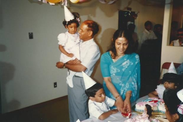 My family on my third birthday, Toronto, 1989.