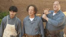"Chris Diamantopoulos, left, Sean Hayes, and Will Sasso as Moe, Larry and Curly in a scene from ""The Three Stooges"" (Twentieth Century Fox)"
