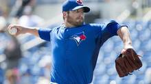 Toronto Blue Jays pitcher Brad Lincoln throws a pitch against the Houston Astros during first inning MLB Grapefruit League baseball action Dunedin, Fla., on Wednesday, Feb. 27, 2013. (Nathan Denette/THE CANADIAN PRESS)