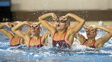 Members of the women's synch swim team work their routine during practice in Montreal March 8, 2012. (Christinne Muschi/The Globe and Mail/Christinne Muschi/The Globe and Mail)
