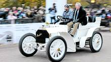 Nigel Mansell drives the 1902 Mercedes Simplex in this year's Veteran Car Run. (Mercedes-Benz)