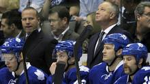 Coach Randy Carlyle looks on in dismay as his team's playoff hopes are on the brink of being officially squashed. (MIKE CASSESE/Mike Cassese/Reuters)